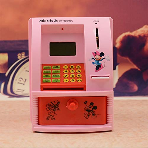 weichuang Sparschwein Elektronisches Sparschwein ATM Mini Labyrinth Hund Spardose Affe Passwort Kauen Münze Bargeld Pfand Maschine Geschenk für Kinder Kinder Sparschwein (Farbe: Rot)