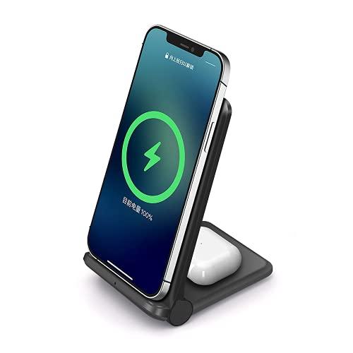Cargador inalámbrico Plegable, estación de Carga inalámbrica Qi 2 en 1, para A-irpods Pro / 2 iPhone 12/11 Series/XS MAX/XS/XR/X / 8/8 Plus, Samsung Galaxy S21 S20 S10 S9 y habilitado para Qi
