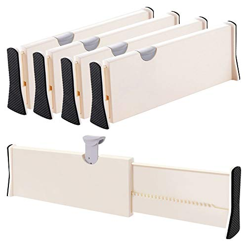 Drawer Dividers Organizer 4 Pack, Adjustable Separators 4' High Expandable from 11-17' for Bedroom, Bathroom, Closet,Clothing, Office, Kitchen Storage, Strong Secure Hold, Foam Ends, Locks in Place