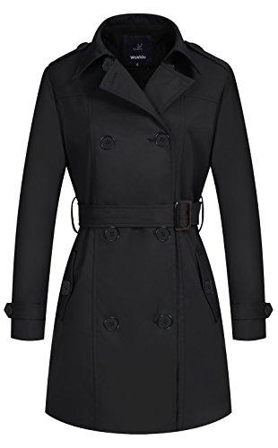 Wantdo Damen Mantel Zweireiher Lange Trenchcoat mit Gürtel Schwarz Medium