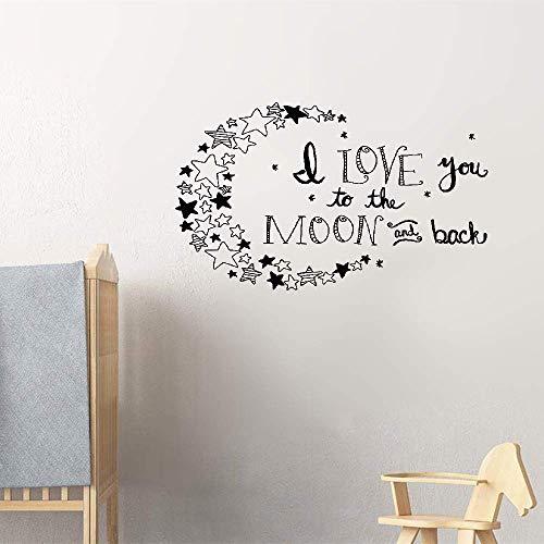 N/ A Wandaufkleber, Vinyl, Zitat I Love You To The Moon And Back Again Stars, für Mädchenzimmer, Kinderzimmer, Kinderzimmer, Hausdekoration, Geschenkidee, 45,7 x 30,5 cm