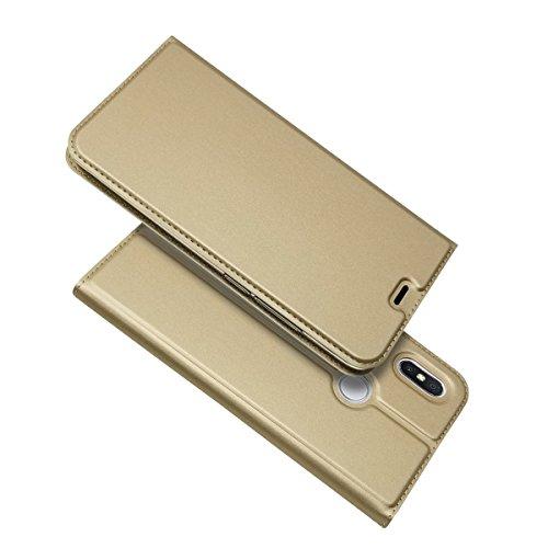 Funda Carcasa para XIAOMI REDMI 5 Plus [Ultra-Slim] PU Cuero Libro Cartera Flip, Dorado, Xiaomi Redmi S2