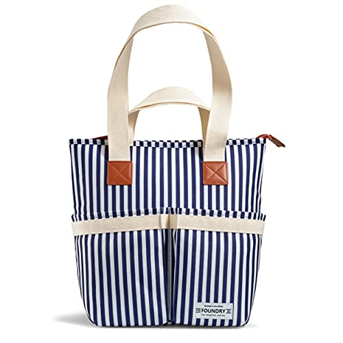 Fit + Fresh Insulated Wine Cooler, Shopping Tote Bag and Purse for Lunch, Picnics, Beach and Road Trips, Leak-Proof Removable Hard Liner and Shoulder Strap, Stripe