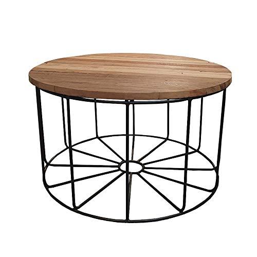 Meubletmoi - Tavolino rotondo grande con base in metallo nero e piano rimovibile in legno di teak D.80 cm
