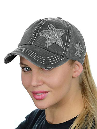 C.C Ponycap Messy High Bun Ponytail Adjustable Glitter Star Distressed Baseball Cap Hat, Grey