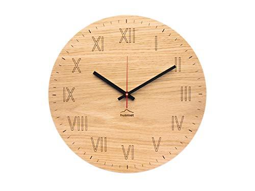 huamet. Wanduhr Holz Eiche mit römische Ziffern RÖMERKULTUHR, rund, geräuschlos ohne Ticken - Qualitätsprodukt Made in Südtirol - CH80-A-1502