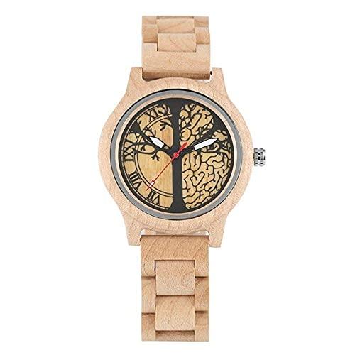 HYLX Reloj de Madera, Reloj de Madera de bambú Natural, Relojes de Mujer, Reloj de Vestir de Cuarzo para Mujer, Reloj de Madera para Regalos, Relojes