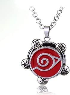 Necklace for Men Anime Movie Naruto Akatsuki Organization Hidan Cosplay Pendant Necklace Alloy Metal Silver Color Red Enamel Necklace