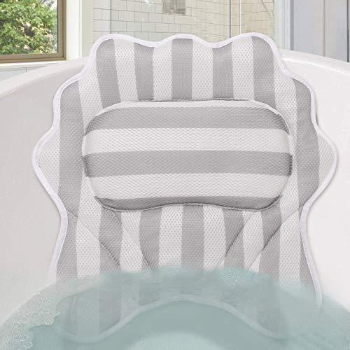 Almohada de Bañera Reposacabezas Bañera con Ventosas Cojín para Bañera Almohadas de Baño Antideslizante Ergonómico SPA en Casa, Soporte para Cabeza, Cuello y Espalda, con Bolsa de Lavandería