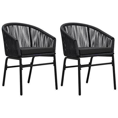 vidaXL 2X Gartenstuhl Rattansessel Gartensessel Stuhl Essstuhl Sessel Rattanstühle Gartenmöbel Rattanmöbel Gartenstühle Schwarz PVC Rattan