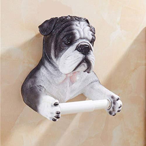 LCBLC Tissue Box Dierlijk Toiletpapier Houder Creatieve 3D Hond Kat Tissue Papier Stand Muur Mount Hars Rolpapier Houder Plank Voor Badkamer Decor