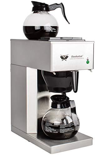 Beeketal 'BGK2-GK' Gastro Edelstahl Filterkaffeemaschine mit 2 Glaskannen (je 1,5l) und Wärmeplatte, Korbfilter Kaffeemaschine mit 2 Heizsystemen (Brühen/Warmhalten), inkl. 10 Stk. Papier Korbfilter