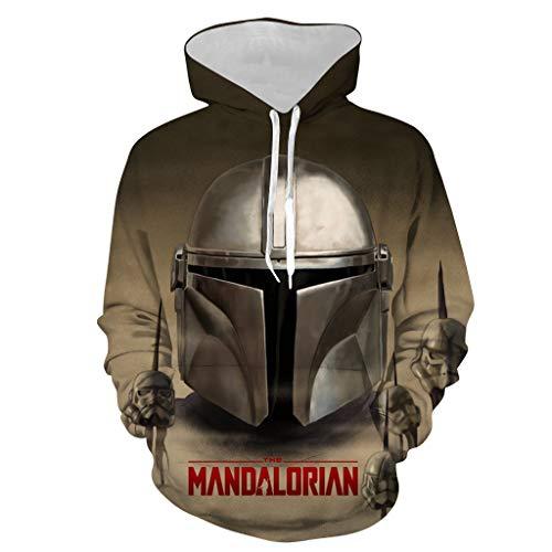 Mandalorian Hoodie SW Movie Cosplay Kostüm Zubehör 3D Druck Unisex Movie Mode Polyester Pullover Gr. X-Large, Y