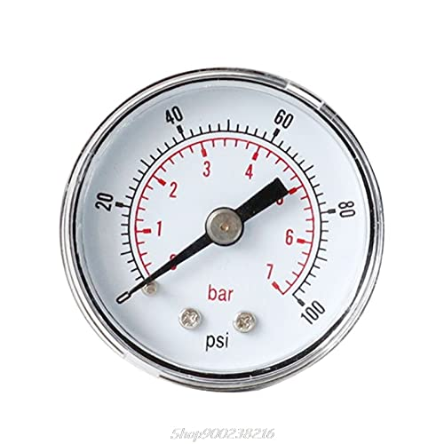 IGOSAIT Manometro 40mm 1/8 BSPT Posteriore Posteriore 15-300 PSI & Bar per Gas Air Wate Combustibile AU04 20 Dropship (Color : Yellow)