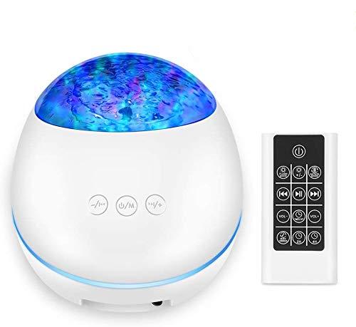 [2020 Neue]Projektor Lampe Ozeanwellen Projektor LED Bluetooth Nachtlichter 8 Beleuchtungsmodi Musik Nachtlicht mit Timerfunktion Stimmungslicht für Baby Kinder Schlafzimmer Wohnzimmer Party, Weiß