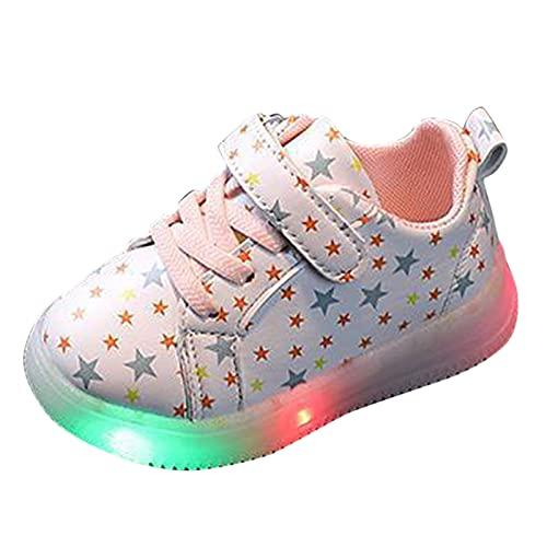 Zapatillas de deporte para niños, con luz LED, para exteriores, para correr, antideslizantes, transpirables, con cierre de velcro, Rosa., 23