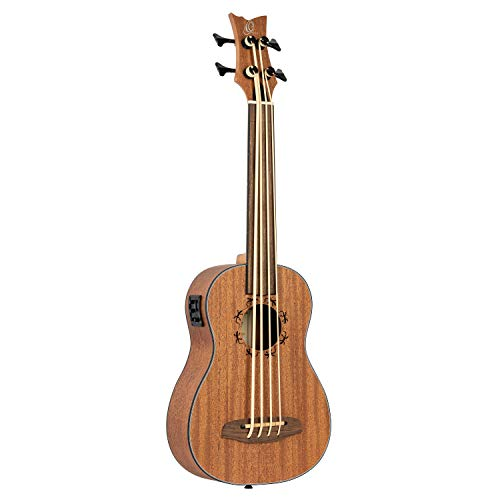 ORTEGA Bass Lizard Series Estuche incluido and Strap Lined Fretless - NT - Caoba natural(LIZZY-BSFL-GB)