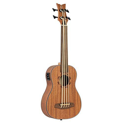 Ortega Guitars Bass Ukulele - bundlos - Lizard Series mit Geckogravur - elektro-akustisch - inklusive Gigbag - Mahagoni (LIZZY-BSFS-GB)