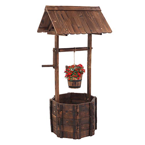 VINGLI Wooden Wishing Well Hanging Bucket, Rustic Flower Planter Patio Garden Ornamental, Outdoor Home Décor, Decorative Front Yard, Lawn