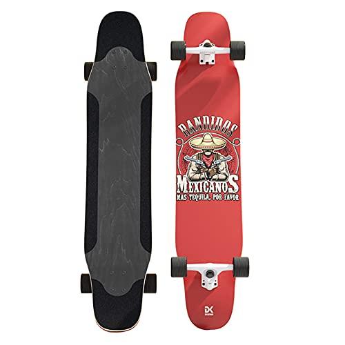 Longboard 46 x 10 Zoll Skateboard für Anfänger und Profis Cruiser Trick Skateboard Schließe das 7-lagige Double Kick Concave Deck Dance Board aus Ahornholz mit T-Tool ab B