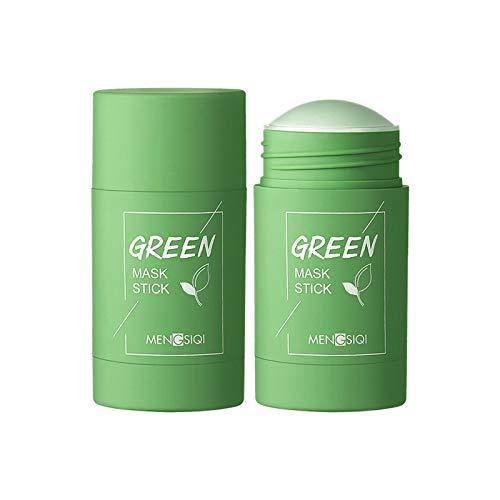 2PCS Grüner Tee Purifying Clay Stick Mask Ölkontrolle Anti-Akne-Aubergine Fest Fein, Befeuchtet und kontrolliert das Öl, Akne-Clearing, Mitesserentferner, Verbessert die Textur der Haut (2 Grüner Tee)