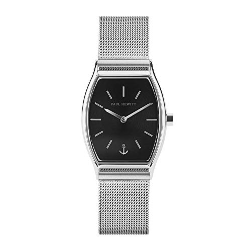 PAUL HEWITT Armbanduhr Damen Modern Edge Line Black Sunray - Edelstahl Damen Uhr (Silber), Damenuhr Edelstahlarmband in Silber, schwarzes Ziffernblatt