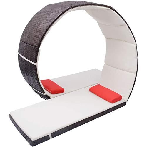 vidaXL Sonnenliege Looping Design Gartenliege Lounge Gartenmöbel Liege Relaxliege Freizeitliege Strandliege Rattanmöbel Poly Rattan Braun