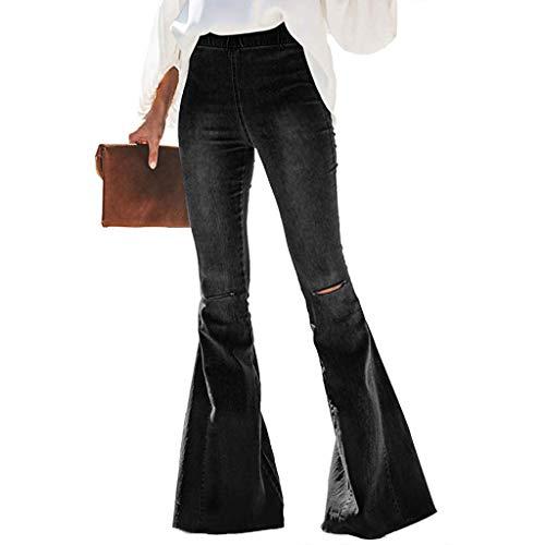 AOGOTO Pantalones vaqueros acampanados con cintura elástica/botón con parte inferior de campana, pantalones de mezclilla casuales de pierna ancha