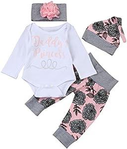 Ropa Bebe Niña Otoño Invierno Fossen Recién Nacido Niña Peleles Monos de Manga Larga + Floral Pantalones + Sombrero + Venda de Pelo,0-18 Meses Bebé Ropa (0-3 Meses, Rosa)