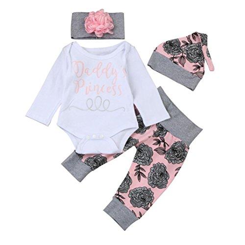 Ropa Bebe Niña Otoño Invierno Fossen Recién Nacido Niña Peleles Monos de Manga Larga + Floral Pantalones + Sombrero + Venda de Pelo,0-18 Meses Bebé Ropa (3-6 Meses, Rosa)