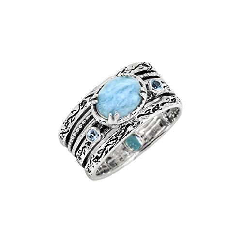 YoTreasure Larimar Swiss Blue Topaz Solid 925 Sterling Silver Designer Ring