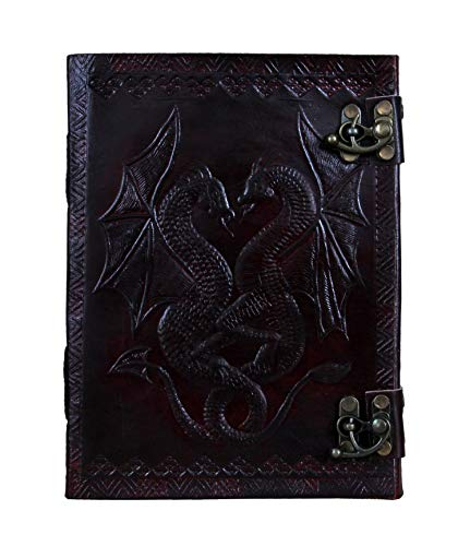 Trendycrafts Dragon Leather Journal Handmade Daily Notepad for Men & Women Unlined Paper Gift for Art Travel Diary Notebooks Sketchbook 8 X 6 inches