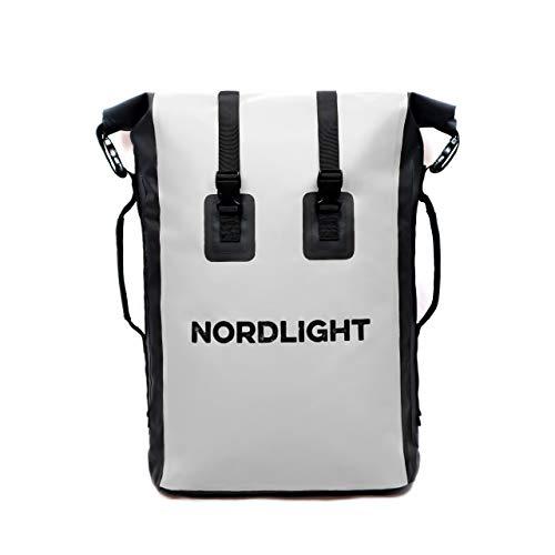 Nordlight Drybag 35 L Roll Top - (Weiß) mit gepolstertem Tragegurt, Dry Bag Rucksack für Wassersport, Fahrrad Rucksack, Kurierrucksack, Trekking, Angeln