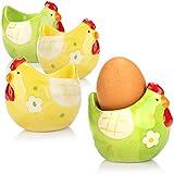 com-four® 4X Portauova Pollo in Ceramica - portauovo per Pasqua - portauovo Colorati Ideali per la Decorazione Pasquale (4 Pezzi - Giallo/Verde - Pollo)