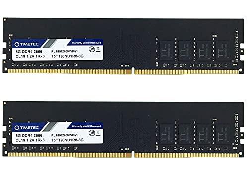 Timetec Hynix IC 16GB(2x8GB) 2666 MHz DDR4 PC4-21300 Unbuffered Non-ECC 1.2 Single Rank CL19 1Rx8 UDIMM 288 Pin modulo Memoria RAM Desktop (16GB(2x8GB))