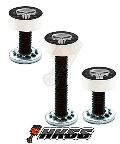 StoreAuto by 3 Silver Billet Vent Windshield Bolts for 14-Up Harley - Punisher Skull QHX