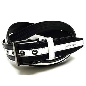(ワンオアエイト 【ONE OR EIGHT】 切り替えラインステッチワークベルト ロングサイズ ゴルフベルト FREE/ブラック×ホワイト