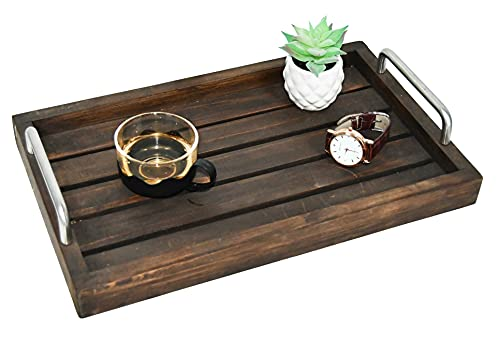 Decorative Ottoman Rustic Brown Barnwood Serving Tray, Wooden server Platter, Rustic Platters, Wood Server, Farmhouse Décor Storage Organizer W/Silver Stainless Steel Handles