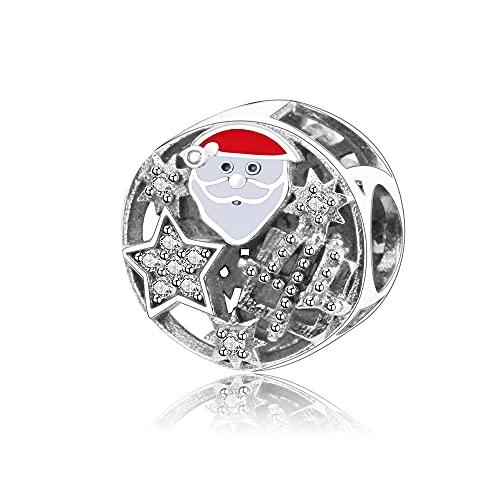 Charms Pandora Da Donna Argento Sterling 925 Beads Simpatico Babbo Natale Con Gioielli In Smalto Europa Compatibile Con Braccialetti E Collane