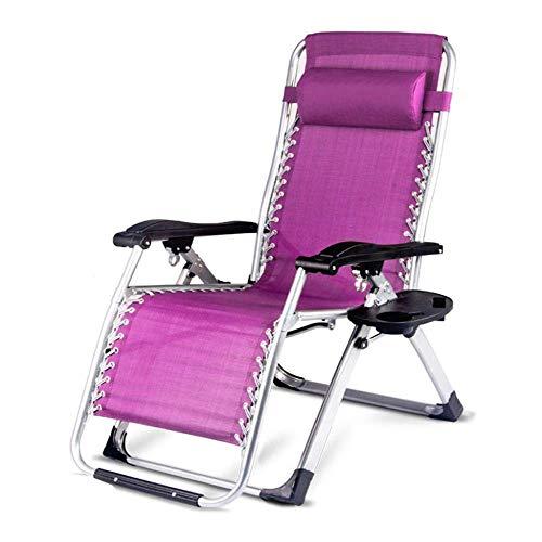 WJJJ Klappsessel Büro Schwangere Frauen Mittagessen Entspannen Strandkorb Tragbare Haushalt Halbe Länge Erweitern Siesta Lila Stuhl mit Metallschnalle und Becherhalter