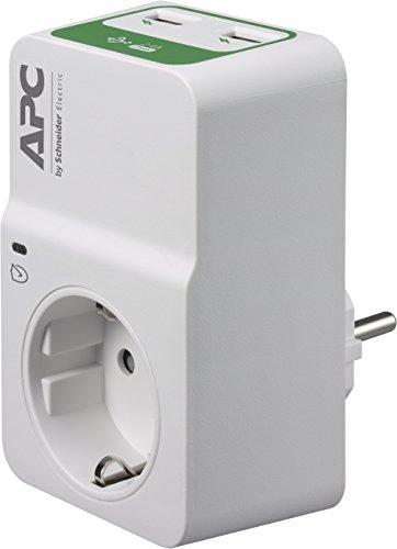 APC Surge Protector - PM1WU2-GR - Steckdosenadapter mit Überspannungsschutz (1 Stecker Schuko, 2 USB-Ladeausgänge, weiß)