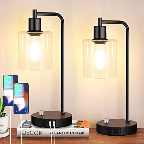 Set of 2 Fully Stepless Dimmable Industrial Table Lamps with 2 USB Ports AC Outlet Bedside Nightstand product image