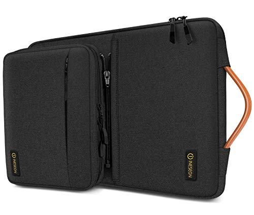 iNeseon 14 Pollici Custodia Laptop per 14' Acer ASUS dell HP Lenovo Huawei Chromebook Ultrabook, Sleeve Protettiva Cover con Borsa Accessori Staccabile e Manico, Nero