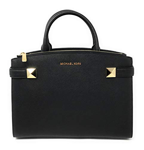 """Saffiano leather with gold tone hardware; Overlap bridge magnetic closure. Approximate measurement 10"""" (H) x 12.8"""" (L) x 4.5"""" (D); Double handle with 4.25"""" drop Adjustable and removable crossbody strap with drop length of 22"""". Interior features 1 zip..."""