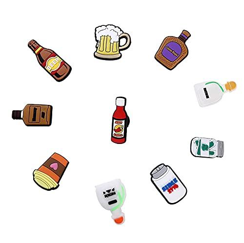 10 Pcs Cartoon Bottle Shoe Charms For Crocs, Unisex-adult Clog Pins Accessoris For Shoe Decoration