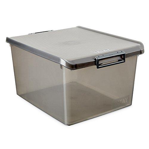 TATAY Caja de Almacenamiento Multiusos con Tapa, 35 l de Capacidad, Plástico Polipropileno Libre de BPA, Marrón Translúcido, 38 x 48 x 26 cm