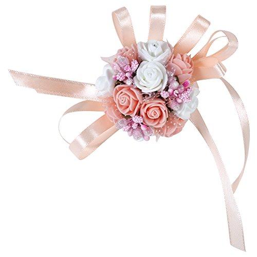 Set di 2 damigella braccialetti di Matrimonio exquis floreale polso donne ragazze Corsage Party Prom Dance Fiore Bouquet Decorazione per Festa Matrimonio # 5 Champagne + Blanc