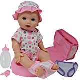 Drink and Wet Potty Training Baby Doll posable Dolls with Pacifier, Bottle, and Diapers - Helps Toilet Training for Kids (caucasian)