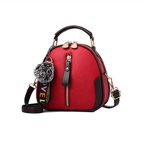 QRQR Schultertaschen Umhangetaschen Handtaschehundert Schräge Damen Tasche Frühling Und Sommer Mädchen Kleine Tasche Winter Runde Tasche Weiche Nudeln Wein Rot 20 X 9 X 18Cm