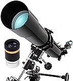 Telescopio astronómico refractor, telescopio de 900 mm de apertura de 80 mm, telescopio de viaje para niños principiantes y adultos, gran astronomía para que los niños exploren el espacio lunar